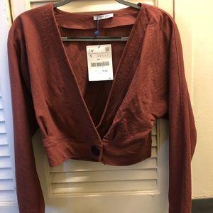 Zara button detail crop top